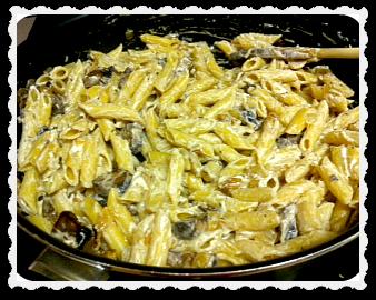 Creamy Portobello and Goat Cheese Pasta