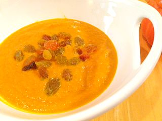 Curried Pumpkin Soup with Golden Raisins