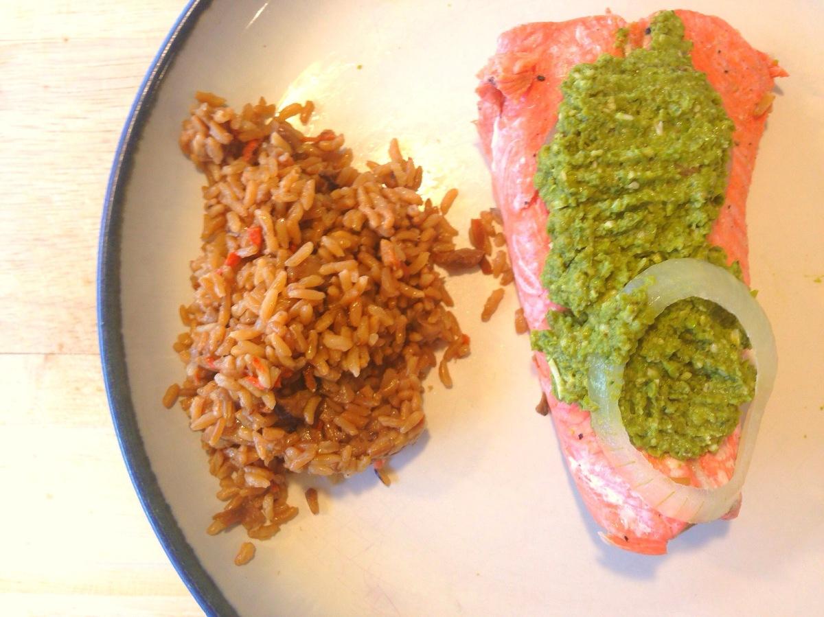 Salmon With Green Pea Pesto