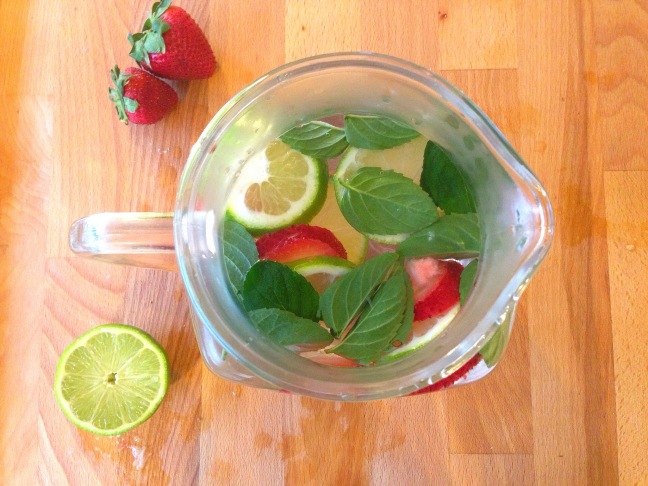 Mint, Strawberry, Lime-Infused Water